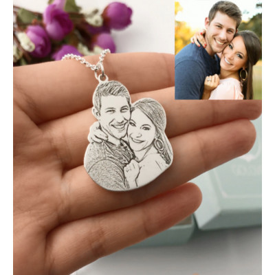 Engraved Photo Pendant Necklace In Sterling Silver - The Name Jewellery™