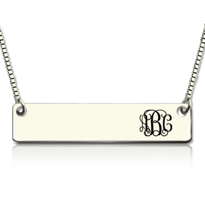 Engraved Monogram Initial Bar Necklace Sterling Silver - The Name Jewellery™