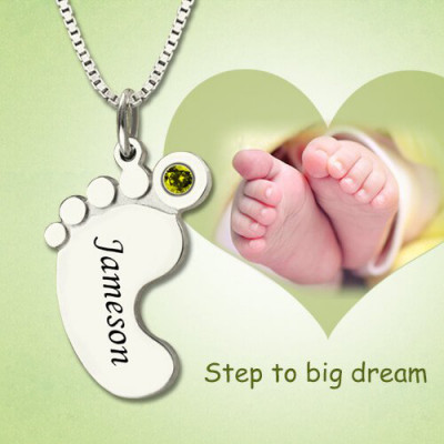 Personalised Baby Feet Necklace with Birthstone Engraved Name - The Name Jewellery™
