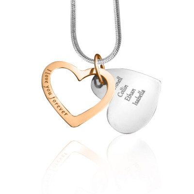 Personalised Love Forever Necklace - Two Tone - Rose Gold  Silver - The Name Jewellery™