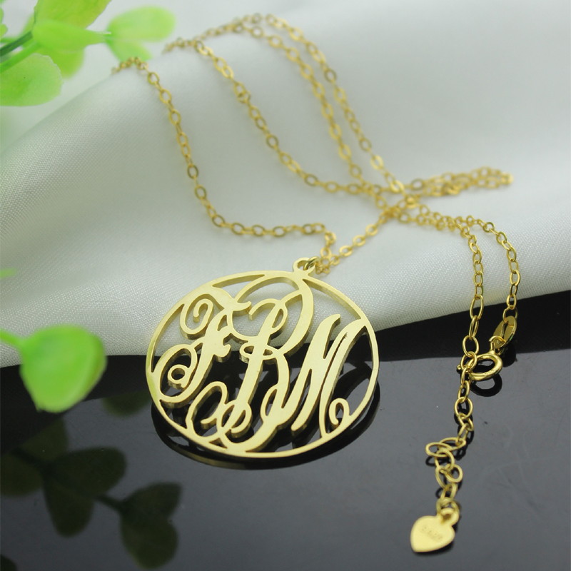 6ef8916823bf1 Gold Plated Circle Initial Monogram Necklace