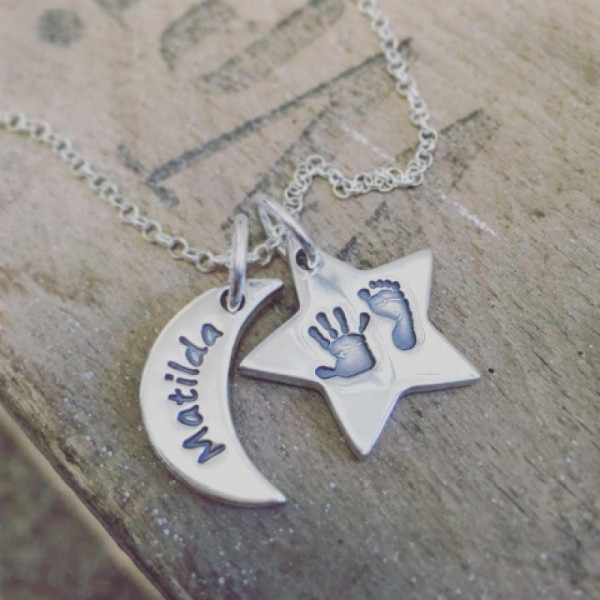 Moon & Star Hand & Foot Print Necklace - The Name Jewellery™
