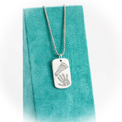 Footprint Handprint Personalised Mens Dog Tag Necklace - Two Pendants - The Name Jewellery™