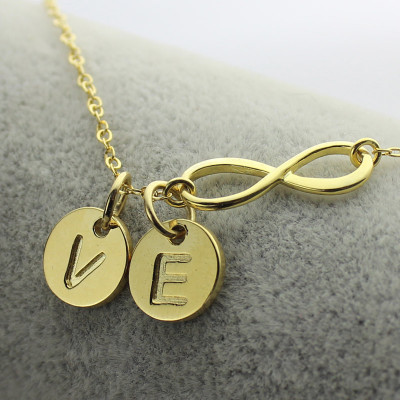 Infinity Necklace With Disc Initial Charm 18ct Gold Plated - The Name Jewellery™