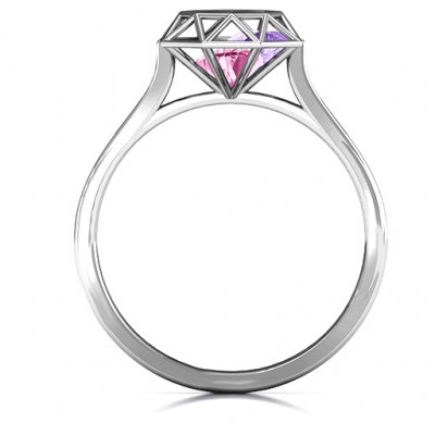 Personalised Diamond Cage Ring with Encased Heart Stones - The Name Jewellery™