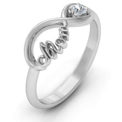 Mom's Infinity Bond Ring with Birthstone - The Name Jewellery™