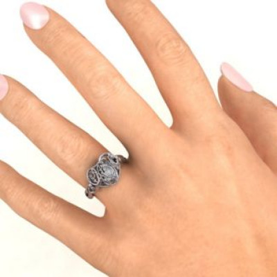 #1 Mom Caged Hearts Ring with Butterfly Wings Band - The Name Jewellery™