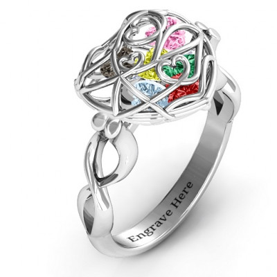 Encased in Love Caged Hearts Ring with Infinity Band - The Name Jewellery™