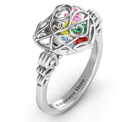 Encased in Love Caged Hearts Ring with Butterfly Wings Band - The Name Jewellery™