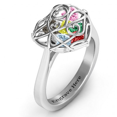 Encased in Love Caged Hearts Ring with Ski Tip Band - The Name Jewellery™