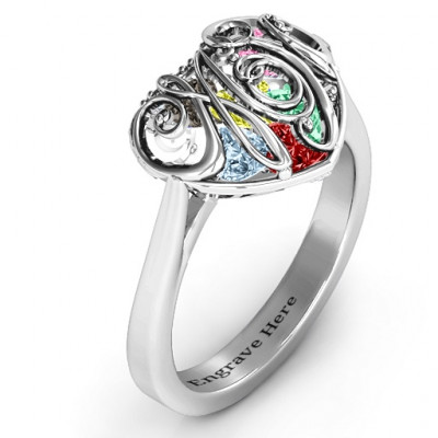 Cursive Mom Caged Hearts Ring with Ski Tip Band - The Name Jewellery™