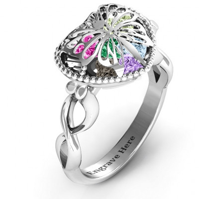 Sterling Silver Butterfly Caged Hearts Ring with Infinity Band - The Name Jewellery™