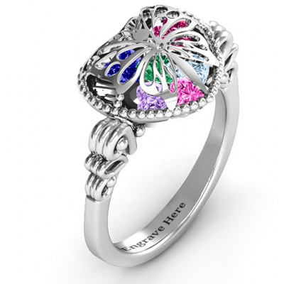 Butterfly Caged Hearts Ring with Butterfly Wings Band - The Name Jewellery™