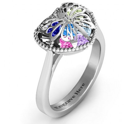 Butterfly Caged Hearts Ring with Ski Tip Band - The Name Jewellery™