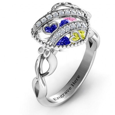 Sparkling Diamond Hearts Caged Hearts Ring with Infinity Band - The Name Jewellery™