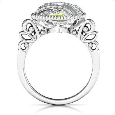 Sparkling Diamond Hearts Caged Hearts Ring with Butterfly Wings Band - The Name Jewellery™