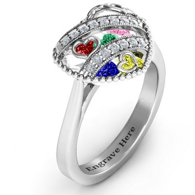 Sparkling Hearts Caged Hearts Ring with Ski Tip Band - The Name Jewellery™