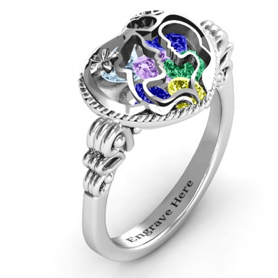 Mother and Child Caged Hearts Ring with Butterfly Wings Band - The Name Jewellery™