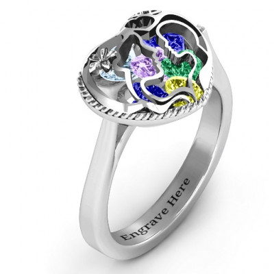 Mother and Child Caged Hearts Ring with Ski Tip Band - The Name Jewellery™