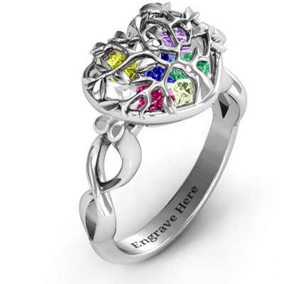 Family Tree Caged Hearts Ring with Infinity Band - The Name Jewellery™