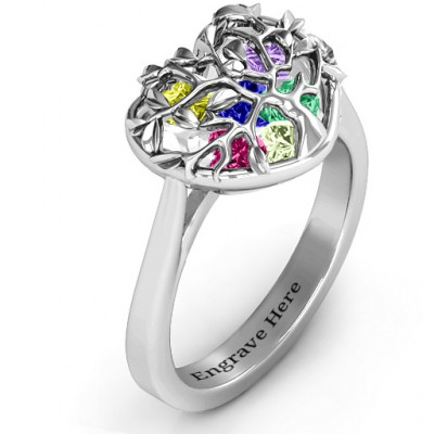 Family Tree Caged Hearts Ring with Ski Tip Band - The Name Jewellery™