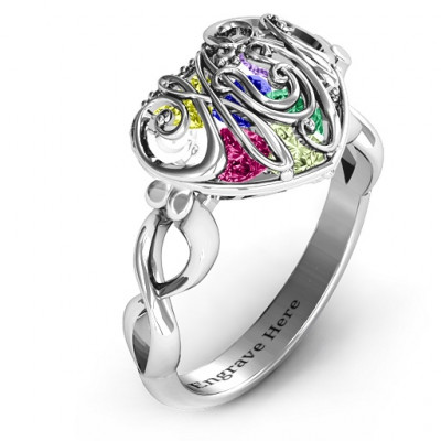 Mum heart Caged Hearts Ring with Infinity Band - The Name Jewellery™