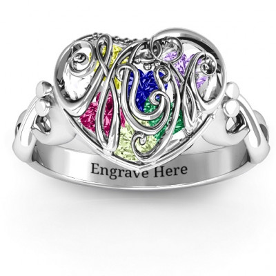 Cursive Mom Caged Hearts Ring with Infinity Band - The Name Jewellery™