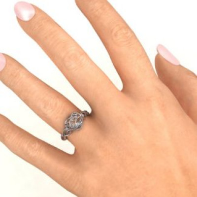 Heart Cut-out Petite Caged Hearts Ring with Classic with Engravings Band - The Name Jewellery™