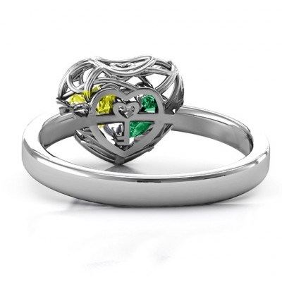 Encased in Love Petite Caged Hearts Ring with Classic Band - The Name Jewellery™