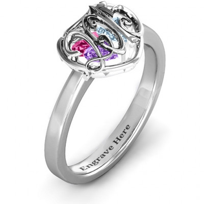 2015 Petite Caged Hearts Ring with Classic with Engravings Band - The Name Jewellery™
