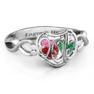 2015 Petite Caged Hearts Ring with Infinity Band - The Name Jewellery™