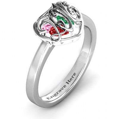 2016 Petite Caged Hearts Ring with Classic with Engravings Band - The Name Jewellery™