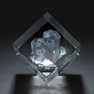 Square Crystal With Photo/Text Engraved Inside - The Name Jewellery™