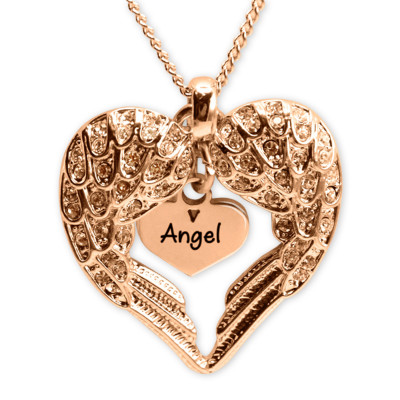 Personalised Angels Heart Necklace with Heart Insert - 18ct Rose Gold - The Name Jewellery™