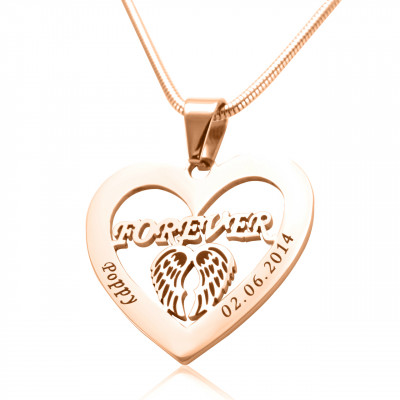Personalised Angel in My Heart Necklace - 18ct Rose Gold Plated - The Name Jewellery™