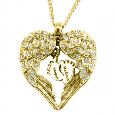 Personalised Angels Heart Necklace with Feet Insert - GOLD - The Name Jewellery™
