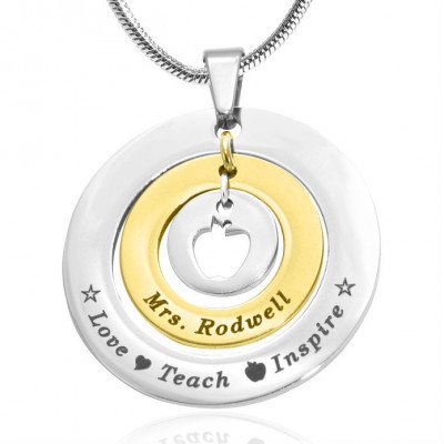 Personalised Circles of Love Necklace Teacher - TWO TONE - Gold  Silver - The Name Jewellery™