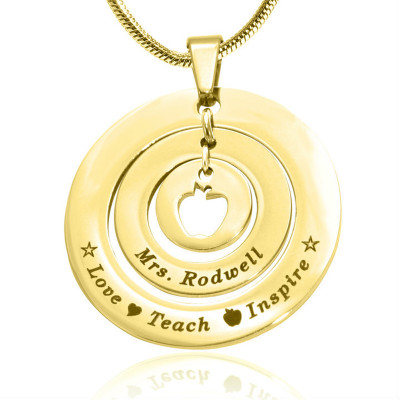 Personalised Circles of Love Necklace Teacher - 18ct GOLD Plated - The Name Jewellery™