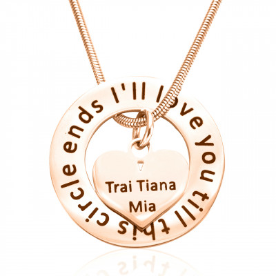 Personalised Circle My Heart Necklace - 18ct Rose Gold Plated - The Name Jewellery™