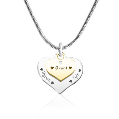 Personalised Double Heart Necklace - Two Tone - Gold n Silver - The Name Jewellery™
