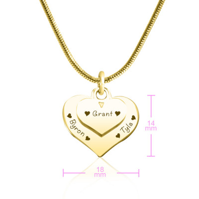 Personalised Double Heart Necklace - 18ct Gold Plated - The Name Jewellery™