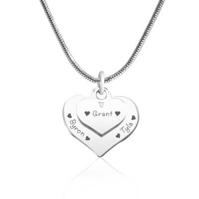Personalised Double Heart Necklace - Sterling Silver - The Name Jewellery™