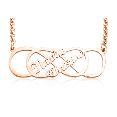 Personalised Infinity X Infinity Name Necklace - 18ct Rose Gold Plated - The Name Jewellery™