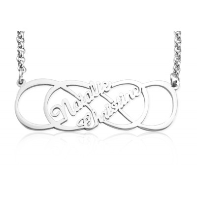 Personalised Infinity X Infinity Name Necklace - Sterling Silver - The Name Jewellery™