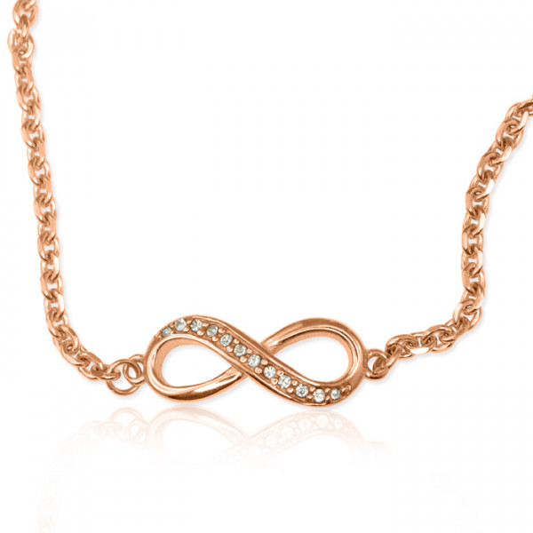 Personalised  Crystal Infinity Bracelet/Anklet - 18ct Rose Gold Plated - The Name Jewellery™