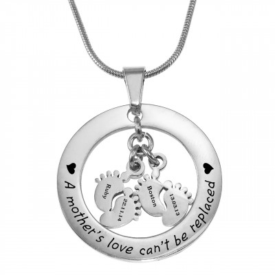 Personalised Cant Be Replaced Necklace - Double Feet 12mm - The Name Jewellery™