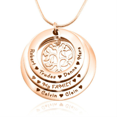 Personalised Family Triple Love - 18ct Rose Gold Plated - The Name Jewellery™