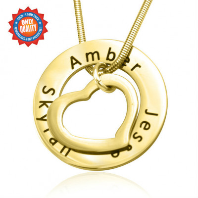 Personalised Heart Washer Necklace - 18ct GOLD Plated - The Name Jewellery™