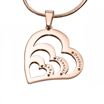 Personalised Hearts of Love Necklace - 18ct Rose Gold Plated - The Name Jewellery™
