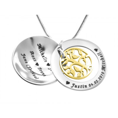 Personalised My Family Tree Dome Necklace - Two Tone - Gold Tree - The Name Jewellery™